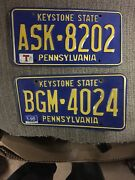 2 Vintage Pennsylvania Pa License Plates Temporary And 1999 Man Cave
