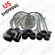 Us Ship Universal 3.5 Inch Aluminum Turbo Intercooler Piping Kit Pipes + Clamps