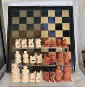 Vintage Chess Set With Board/case Hand-carved Bovine Bone Antique Collectors Htf