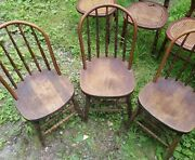 Lot 3 Antique Solid Wood Dining Kitchen Side Balloon Back Accent Chairs. Nice