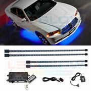 Ledglow Wireless Blue Led Neon Underglow Undercar Light Kit W 4 Tubes And Remote