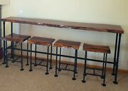 Live Edge 8and039 Dark Walnut Bar Top Table With 4 Live Edge Stools