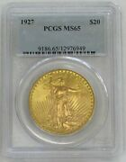 1927 Gold 20 Saint Gaudens Double Eagle Coin Pcgs Mint State 65