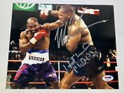 Mike Tyson And Evander Holyfield Dual Signed Glossy 8x10 Photo Psa Dna Coa