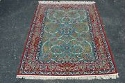 C1970s Never Used Fine Green Field I Sfahan Rug 3.8x5.5 Kurk Wool_silk Accents