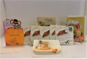 Lot Of 7 Vintage Thanksgiving Greeting Cards + Stickers + Halloween Card