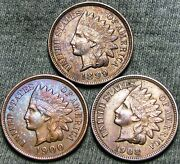 1899 1900 1908 Indian Cent Penny ---- Stunning Lot ---- D804