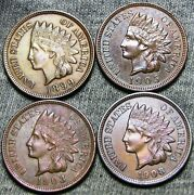 1899 1905 1903 1908 Indian Cent Penny ---- Stunning Lot ---- D810
