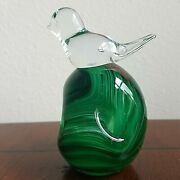 Gibson Art Glass Green Swirl Dimple 4 T Paperweight W/ Crystal Bird Signed 2004