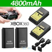 4x 4800mah Battery Packandcharger Cable For Microsoft Xbox 360 Wireless Controller