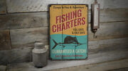 Fishing Charters Vintage Distressed Sign, Personalized Wood Sign