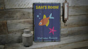 Fish And Starfish Kid Vintage Distressed Sign, Personalized Wood Sign