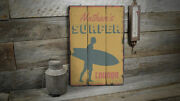 Surfer Lounge Vintage Distressed Sign, Personalized Wood Sign