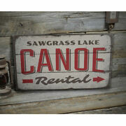 Canoe Rental Directional Vintage Distressed Sign Personalized Wood Sign