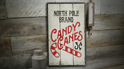 North Pole Candy Canes Novelty Distressed Sign, Personalized Wood Sign