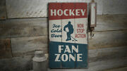 Hockey Fan Zone Rustic Distressed Sign Personalized Wood Sign