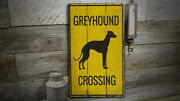 Greyhound Crossing Rustic Distressed Sign Personalized Wood Sign