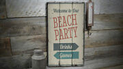 Beach Party Vintage Distressed Sign Personalized Wood Sign