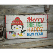 Merry Christmas Happy New Year Rustic Distressed Sign Personalized Wood Sign