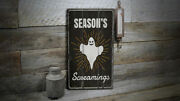Seasons Screamings Novelty Distressed Sign, Personalized Wood Sign