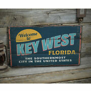 Welcome To Key West Florida Novelty Distressed Sign, Personalized Wood Sign