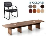 14 Ft Foot Boat Shaped Conference Table And 12 Chairs Set Grommets In 8 Colors