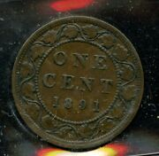 1891 Canada Large Cent - Iccs Vf-30 - Large Leaves Small Date Obverse 3 - En854