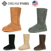 Dream Pairs Womens Mid Calf Sheepskin Insole Faux Fur Lined Winter Snow Boots