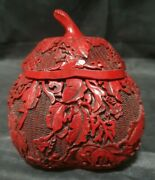 Vintage Chinese Carved Red Cinnabar Gourd Shaped Covered Box - 5 1/4 Tall