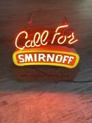 Antique Vintage Call For Smirnoff Neon Sign In Original Padded Box 1988