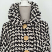 Dolce Gabbana Cloak Cape Black And White Hounds Tooth/pied De Poule Tweed
