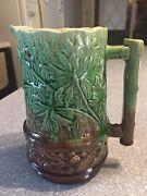 Antique Majolica 6 3/8 Pitcher Oak Leaves Acorns Vines Green And Brown Unmarked