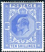 Sg 319 10/- Blue. A Superb Unmounted Mint Example