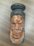 Vintage Wood Hand Crafted Wooden Head Statue, Collectible