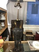 Japanese Chinese Bronze Marbro Lamp Rare Form 35andrdquo Height