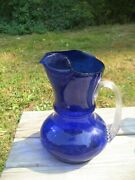 Vintage-1930and039s Beautiful Hand Blown Pitcher / Royal Blue Cobalt/louie Glass 9t