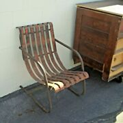 Antique Metal Patio Chair Orange Slat Lawn Bouncer Lloyd Rust Wear And Repaired