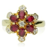 Vintage 18ct Yellow Gold Ruby And Diamond Cluster Ring - 20th C