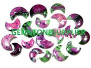 Natural Ruby Ziosite Moon Shape Crystal Cabochon Healing Gemstone Wholesale Lot