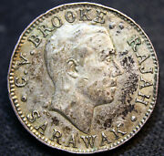854 Sarawak 1920-h 10 Cents Silver Km15 1 Year Type Low Mint Solder Mark
