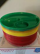 Vintage Lustro Ware Plastic Divided Picnic Camping Plates Trays 1950s