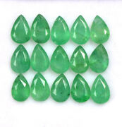 Natural Green Emerald Pear Cut Faceted Untreated Loose Gemstone Lot