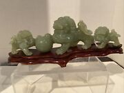 Natural Jade Like Hard Stone Carving Foo Dog Lion Group With Wood Stand