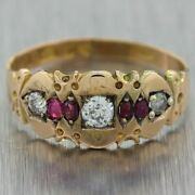 1900's Antique Victoria 15ct Yellow Gold 0.40ctw Ruby And Diamond Ring