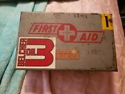 Vintage Staff First Aid Gray Metal Box 2 Latches And Empty Belcher Oil