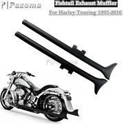 2x 36 In Fishtail Slip On Exhaust Pipes For Harley Road King Street Glide 95-16