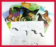 Tinymills Horse And Pony Coloring Book Set W 12 Books 48 Crayons Western Birthday