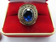United States Air Force Ring Vintage 1970s Circa Sky Blue Stone Gold Filled Sz 9