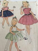 1940s Simplicity 4385 Vtn Sewing Pattern Childs One Piece Dress Apron Size 4