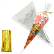 Clear Cone Bags For Popcorn Party Cello With Gold Ties 7 By 14.5 Inch/18cmx37cm
